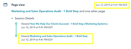 Data of someone viewing our Marketing and Sales Operations Audit Page