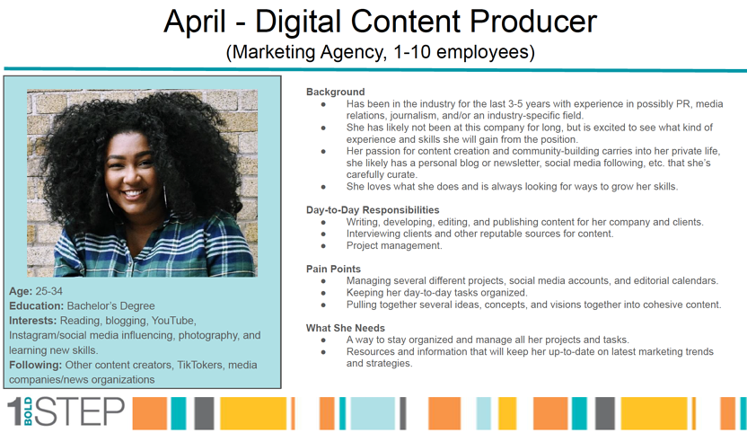 April's Digital Content Producer Buyer Persona