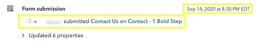 Data of Contact Submitting a Contact Us Form